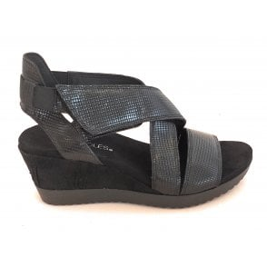 Black Leather Wedge Sandal