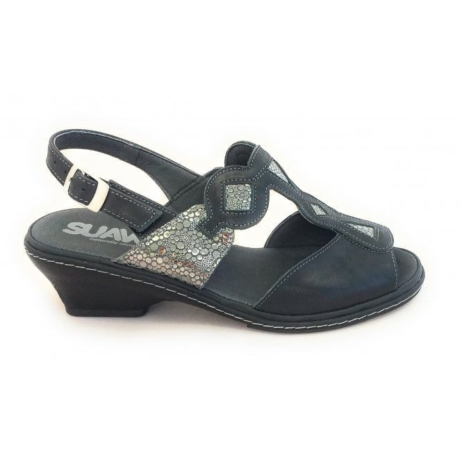Suave Black Leather Wide Fit Sandal