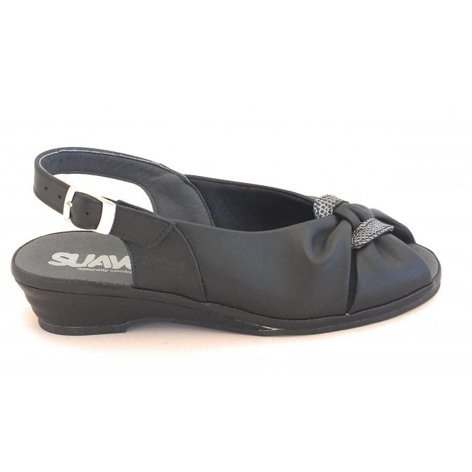 Suave Black Leather Wide Fit Sling-Back Sandal