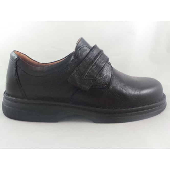Sandpiper Black Leather Wide Fitting Mens Shoe
