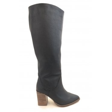 Black Lumsden Leather Heeled Knee High Boots