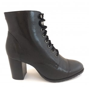 Black Marco Leather Heeled Ankle Boots