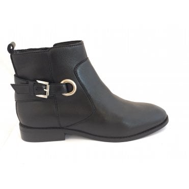 Black Mariel Leather Ankle Boots