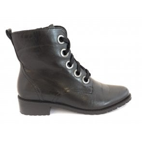 Black Marti Leather Lace-Up Ankle Boots