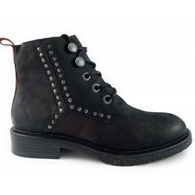 Marco Tozzi Black Nubuck Lace-Up Ankle Boot