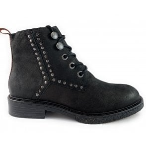Black Nubuck Lace-Up Ankle Boot
