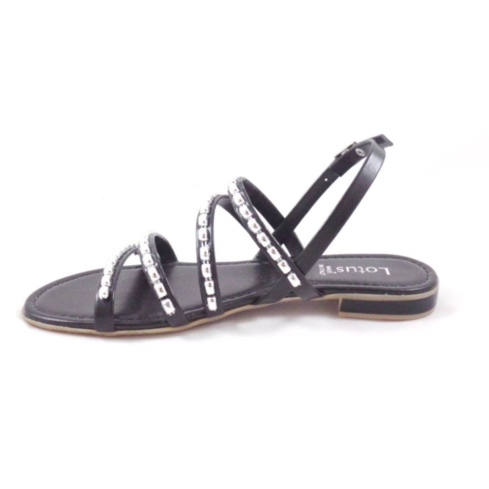 lotus black open toe flat strappy sandals lotus from
