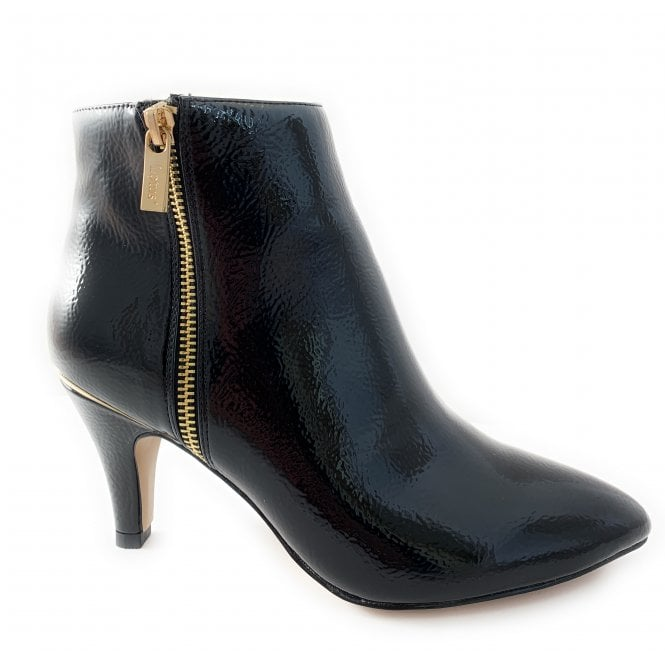 Lotus Black Patent Ankle Boot