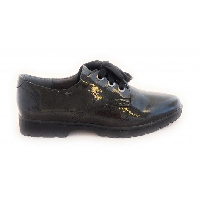 Jana Black Patent Lace-Up Shoe