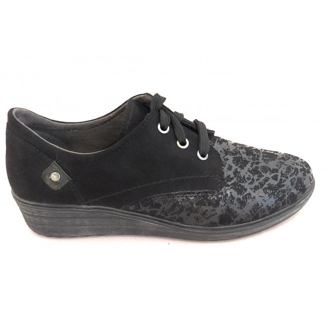 Jana Black Print Lace-Up Wedge Shoe
