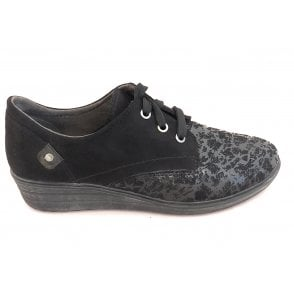 Black Print Lace-Up Wedge Shoe