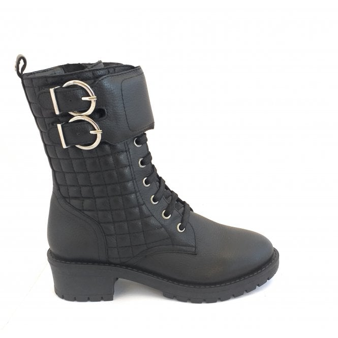 Ravel Black Rosario Milled Leather Mid-Calf Boots