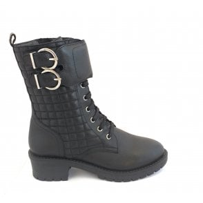 Black Rosario Milled Leather Mid-Calf Boots