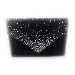 Black Sateen and Diamante Clutch Bag