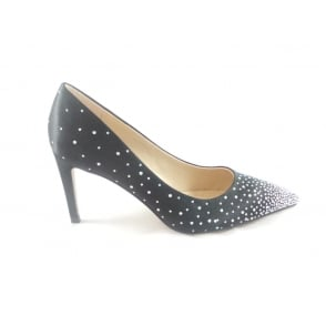 Black Sateen and Diamante Court Shoe