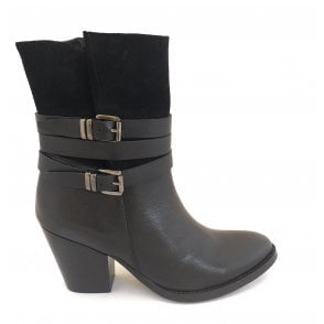 Black Shores Leather Heeled Ankle Boots