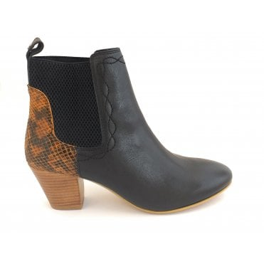 Black/Snake Moa Leather Ankle Boots