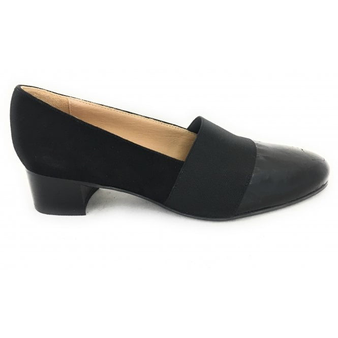 HB Black Suede and Croc Print Court Shoe