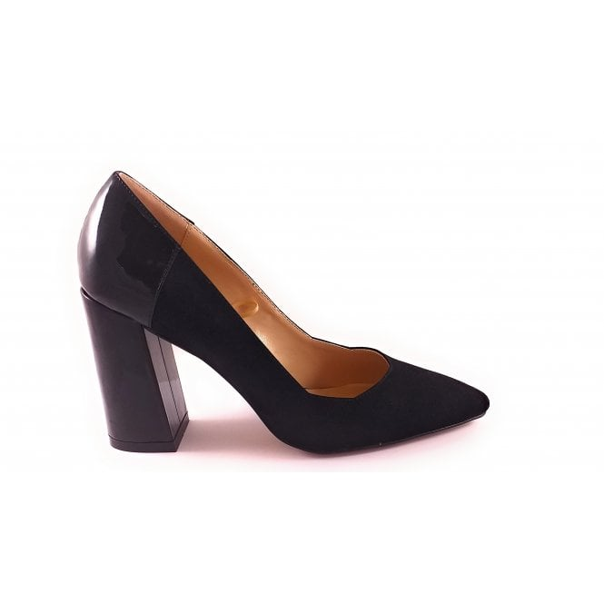Lotus Black Suede and Patent Court Shoe