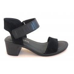 Black Suede Heeled Sandal