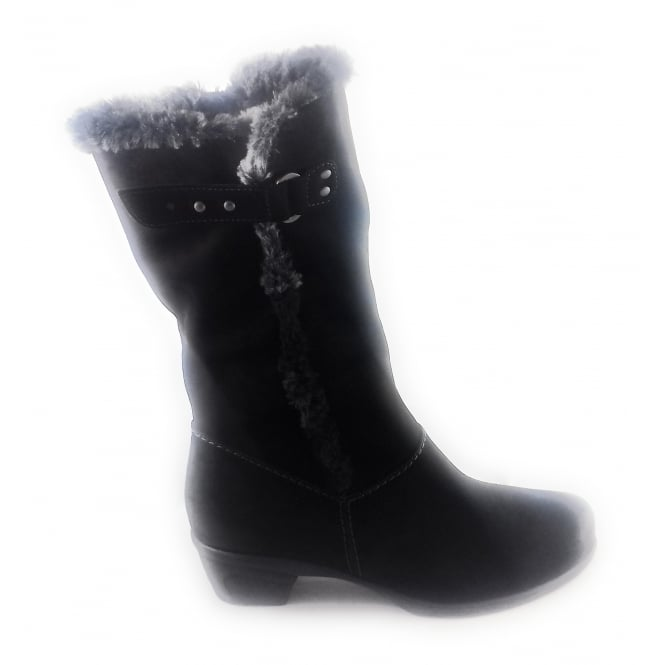 Black Suede Mid Calf Boot