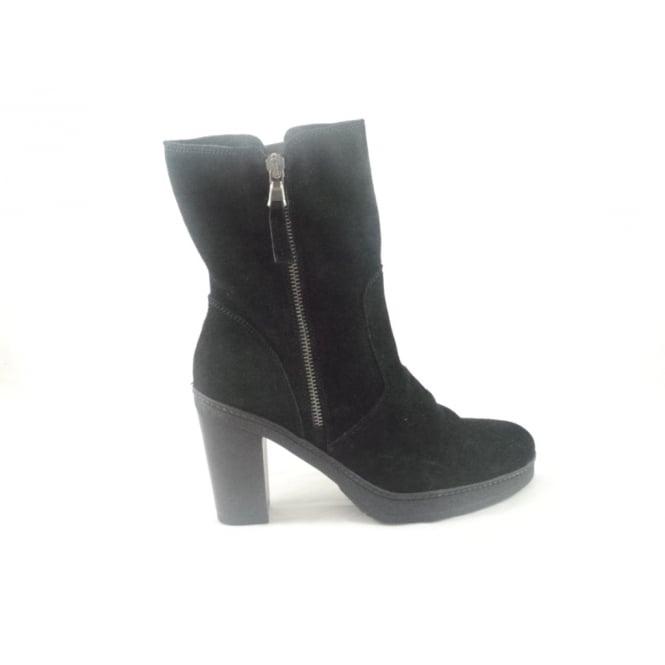 Black Suede Mid Calf Boot