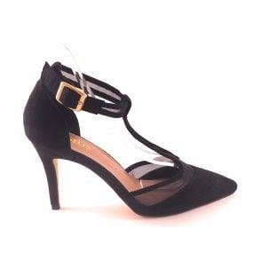 Black Suede T-Bar Court Shoe