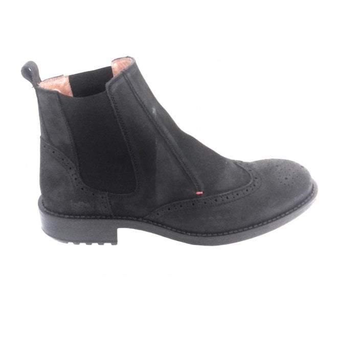 Softwalk Black Waxy Leather Brogue Chelsea Boot