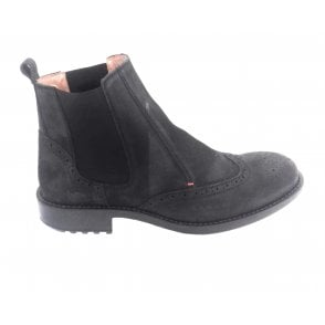 Black Waxy Leather Brogue Chelsea Boot