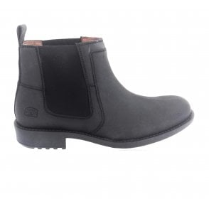 Black Waxy Leather Chelsea Boot