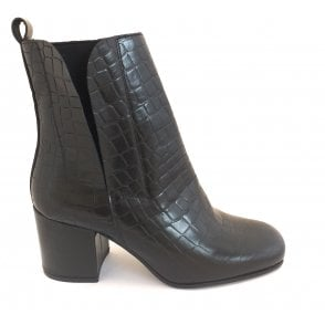 Black Wellsford Croc Print Leather Ankle Boots