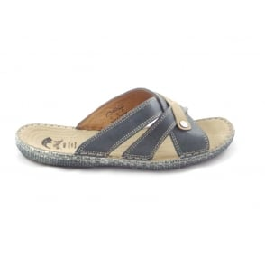 Blue and Beige Leather Slip-On Casual Sandal