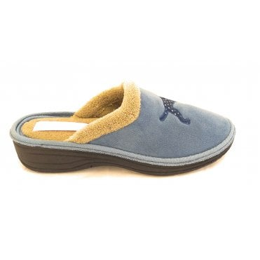 Blue Dalmation Mule Slipper