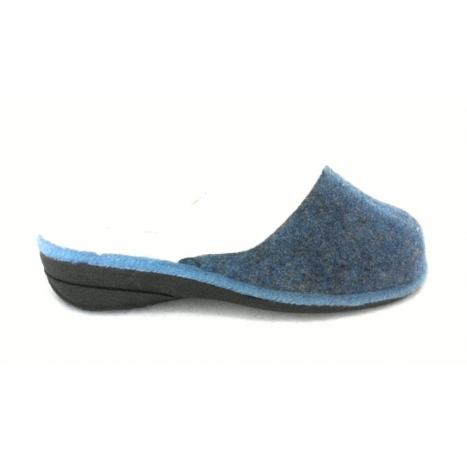Lotus Blue Felt Mule Slipper