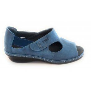 Blue Leather Closed Heel Sandal
