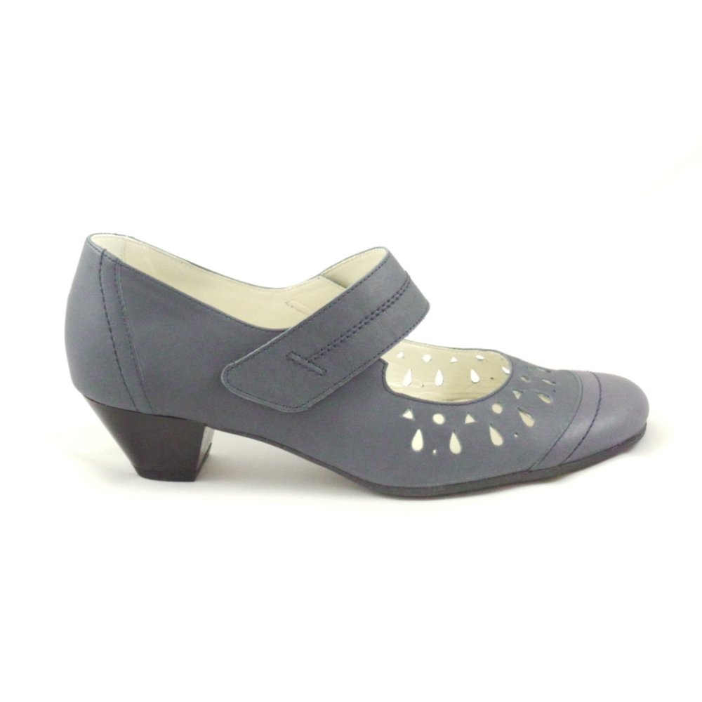 sandpiper blue leather court shoe with velcro