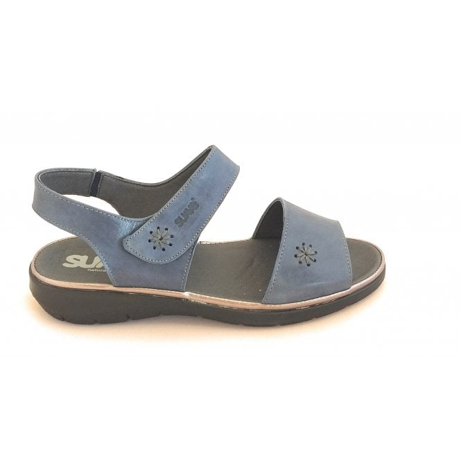 Suave Blue Leather Open-Toe Wide Fit Sandal