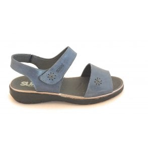 Blue Leather Open-Toe Wide Fit Sandal