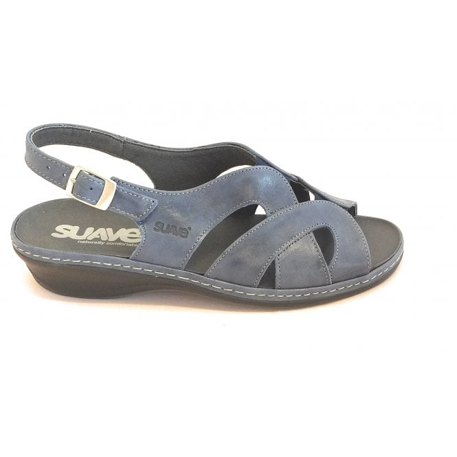 Suave Blue Leather Sandal