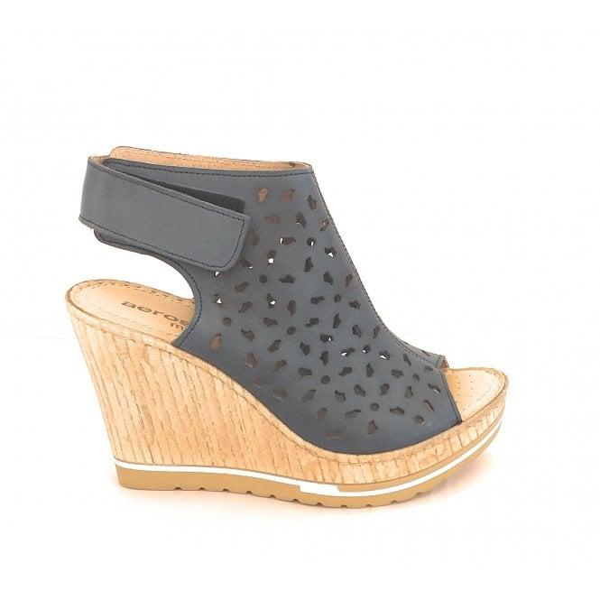 Aeros Blue Leather Wedge Sandal