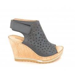 Blue Leather Wedge Sandal