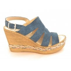 Blue Leather Wedge Sandal