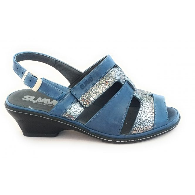 Suave Blue Leather Wide Fit Sandal
