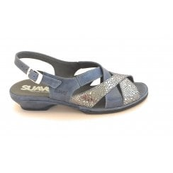 Blue Leather Wide Fit Sandal