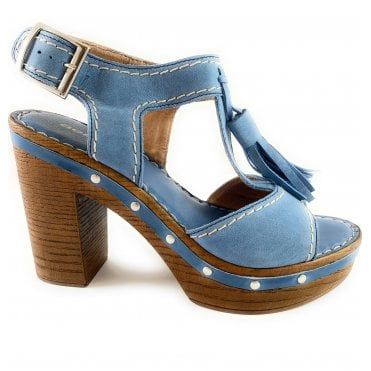 Blue Leather Wooden Platform Sandal