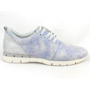 Blue Metallic Lace-Up Casual Shoe
