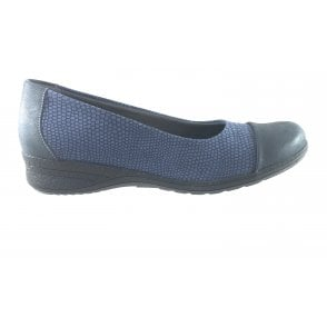 Blue Print Leather Wide Fitting Ballerina Shoe