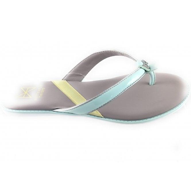 Butterfly Twists Bondi Aqua and Silver Toe-Post Sandal