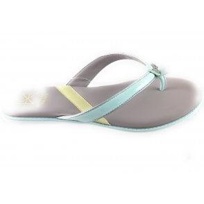 Bondi Aqua and Silver Toe-Post Sandal