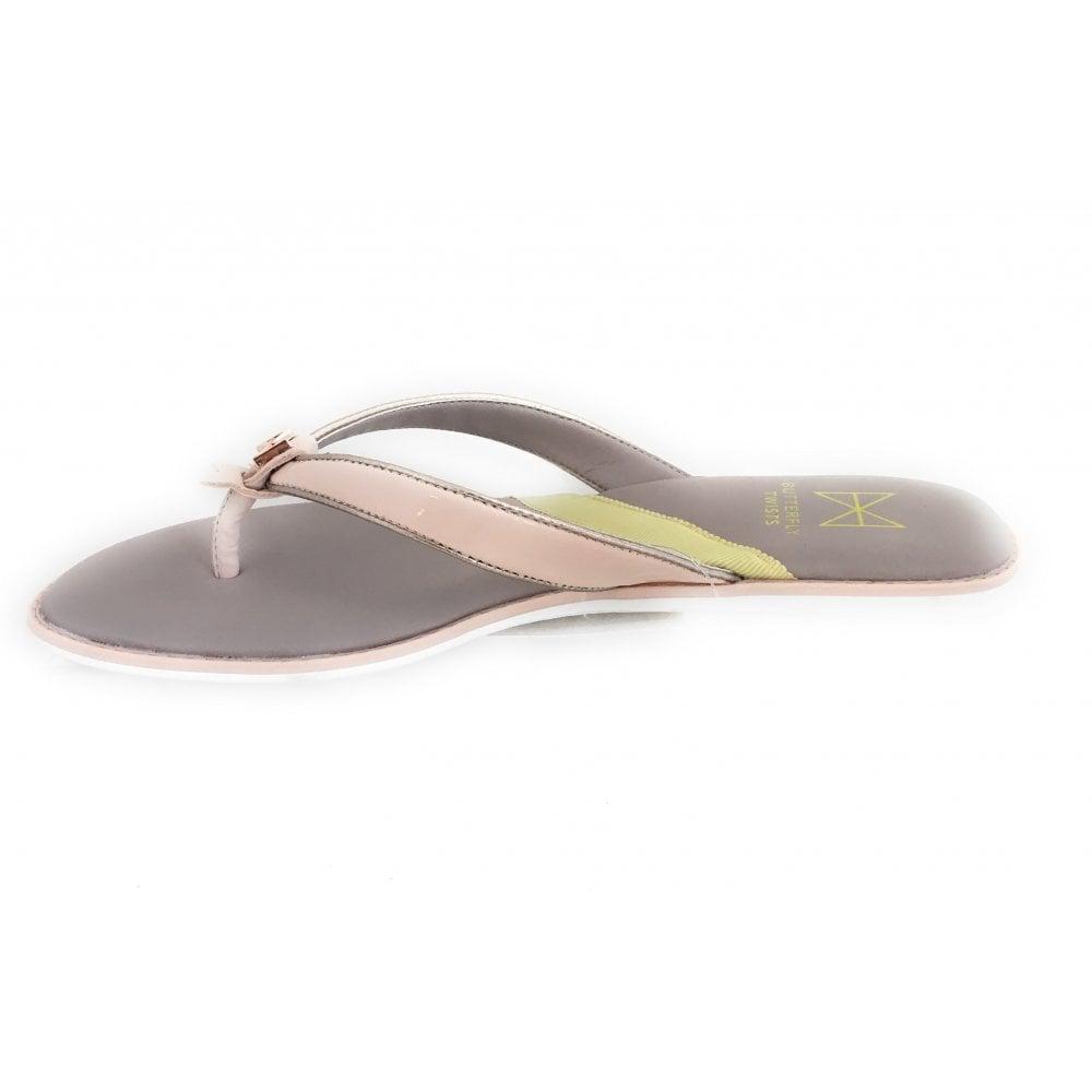 9141cb44eb44 Butterfly Twists Bondi Soft Pink and Rose Gold Toe-Post Sandal ...